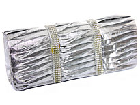 Rhinestone Embellished Satin Evening Bag in Silver. ch-1003-sv.