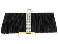 Ruched Elegance Evening Bag in Black. ch-3475-bk.