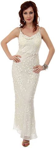 Double Strapped Floral Beaded Formal Dress. d1001.