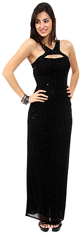 Front Keyhole with Open Back Fully Beaded Formal Gown. d1007.