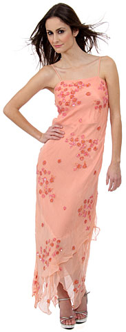 Formal Dress with Beaded Flower Patterns. d1008.