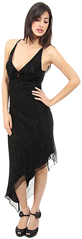 Asymmetric Beaded Formal Dress. d1009.