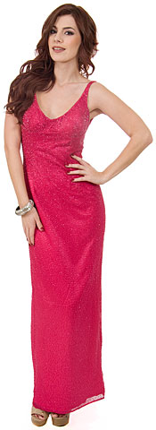 Deep V-Neck Beaded Long Dress with Straps at back . d1013.