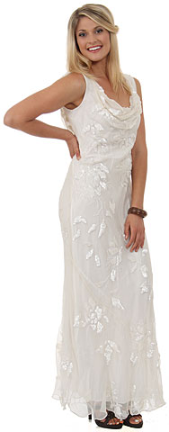 Cowl Neck Sequined Long Formal Dress with Floral Beading. d1016.