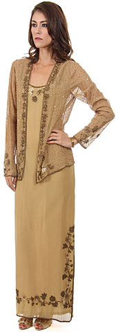 Long Formal Beaded Dress with Matching Jacket . d1028.