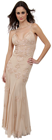 Floral Beaded Formal Dress. d1029.