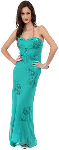 Floral Beaded Full Length Formal Dress. d1031.