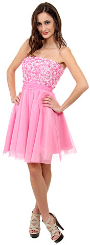 Strapless Flowered Sequined Short Dress. d14059.