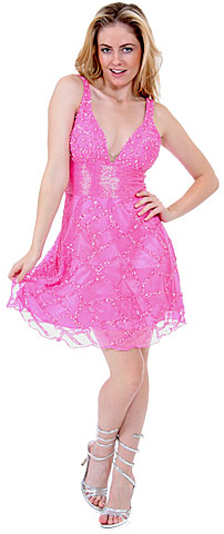 Fully Beaded V-Neck Short Dress. d9000.