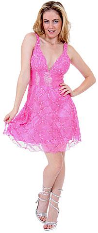 Fully Beaded V-Neck Short Dress. d9000.