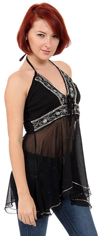 Halter and Empire Cut Top with Silver Beadwork