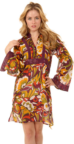 Long Sleeve Floral Print Plum Summer Dress Tunic. fm14-plm.