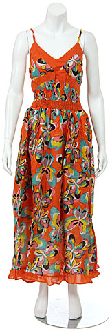 Spaghetti Strapped Butterfly Print Summer Dress in Orange. fm16-or.