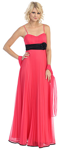 Roman Inspired Long Formal Dress with Floral Applique. g3750.