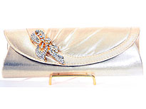 Satin Evening Bag with Studded Brooche in Gold. hy-5539-gd.