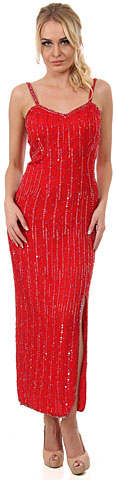 Spaghetti Straps V-Neck Long Sequined Formal Dress. 7506.