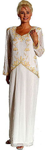 Full Length Beaded Gown. kd122.