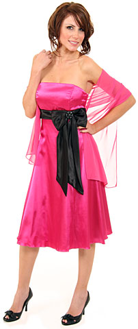 Strapless Two Toned Party Dress With Bow Appliqu. p060f.