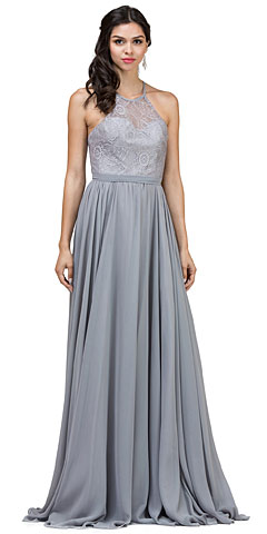 Lace Bodice Criss Cross Back Long Bridesmaid Dress. p2009.
