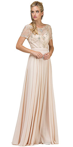 Boat Neck Half Sleeves Beaded Mesh Top Long Formal MOB Dress. p2067.