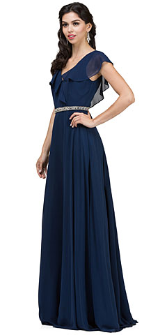 V-Neck Ruffled Top Beaded Waist Long Chiffon Formal Dress. p2072.
