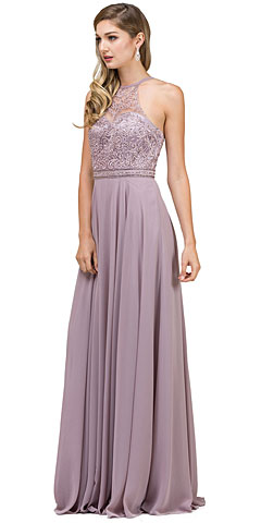 Embroidered Bodice High Neck Long Chiffon Formal Formal Dress. p2092.