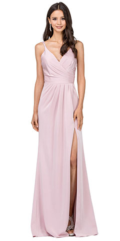 Deep V-Neck Pleated Bust Long Satin Formal Evening Dress. p2172.