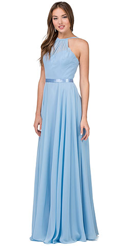 A-line High Neck Chiffon Long Bridesmaid Dress. p2176.