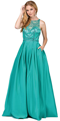 A-line Beaded Bodice Puffy Skirt Long Prom Dress.. p2228.