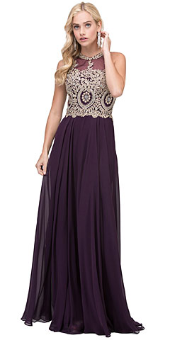 Sleeveless Beaded Lace Mesh Bodice Long Formal Dress. p2234.