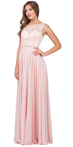 Lace Bodice Beaded Waist Long Chiffon Bridesmaid Dress. p2240.
