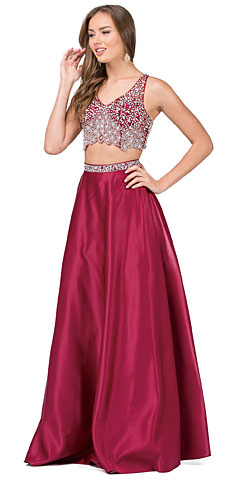 V-neck Bejeweled Top Long Satin Skirt Two Piece Prom Dress. p2243.