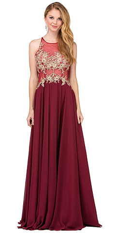Lace Accent Sheer Mesh Bodice Long Prom Dress.. p2297.