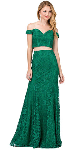 Off-the-Shoulder Floral Lace Two Piece Long Prom Dress. p2299.