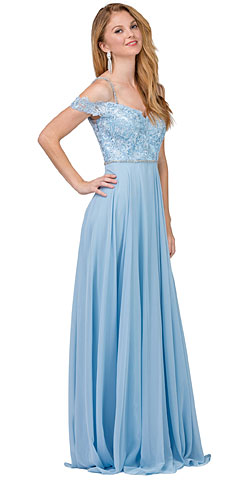 Cold Shoulder Beaded Lace Bodice Long Formal Dress. p2327.