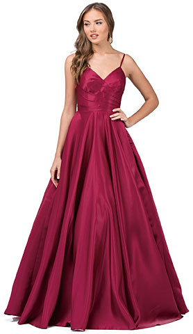 V-Neck Adjustable Straps Pleated Bust Long Prom Dress. p2339.