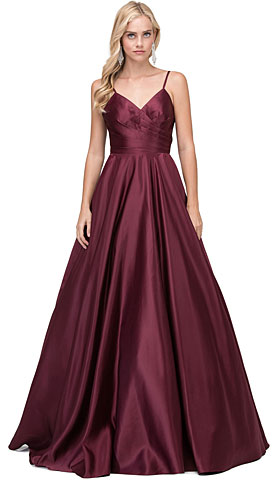 V-Neck Adjustable Straps Pleated Bust Long Quinceanera Dress. p2339.