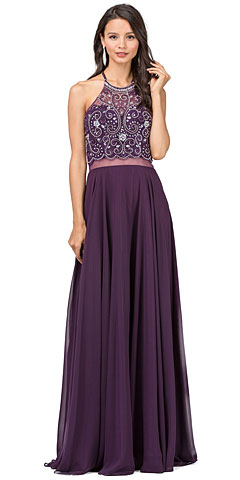 A-line Rhinestones Bodice Sheer Waist Long Prom Dress. p2341.
