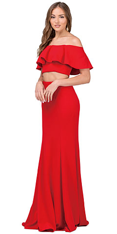 Off-shoulder Flounce Top Two Piece Long Prom Dress. p2342.