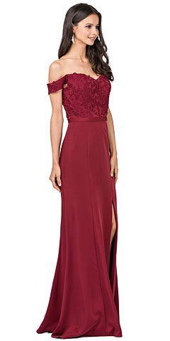 Off-the-Shoulder Lace Accent Top Long Bridesmaid Dress. p2346.