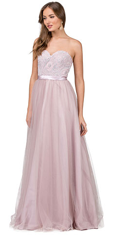 Strapless Beaded Bust Tulle Skirt Long Prom Dress. p2368.