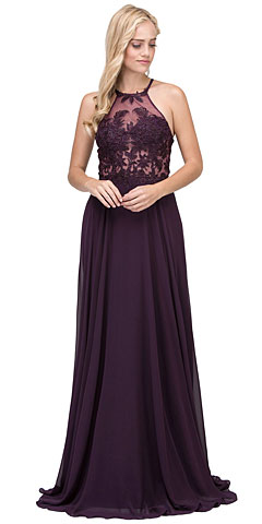 Lace Accent Sheer Mesh Top Chiffon Long Prom Dress. p2369.