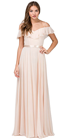 Cold Shoulder Frill Top Ribbon Waist Long Bridesmaid Dress. p2377.