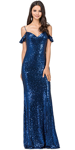 Cold Shoulder Sweetheart Neck Long Sequins Prom Dress. p2398.