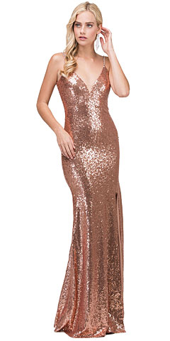 Deep V-Neck Spaghetti Straps Long Sequins Prom Dress. p2408.