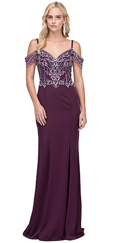 Rhinestones Bust Hanging Sleeves Long Prom Dress.