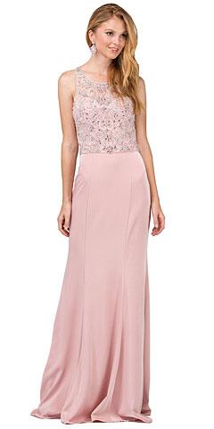 Bejeweled Bodice Round Neck Sleeveless Long Prom Dress. p2411.