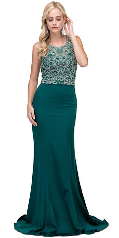Bejeweled Bodice Round Neck Sleeveless Long Prom Dress. p2411.
