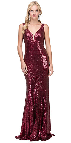 Deep V-neck Fitted Long Sequins Prom Dress. p2434.