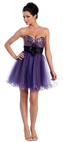 Strapless Flowered Waistline Sequin Prom Dress. p8000.